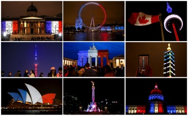 A combination photo shows the blue, white and red colours of the French national flag lit up around buildings and towers around the world in tribute to the victims of the Paris attacks.